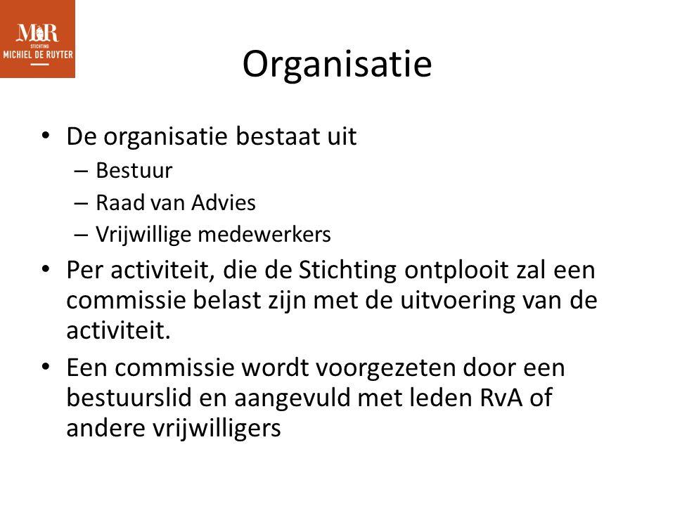Organisatie De organisatie bestaat uit – Bestuur – Raad van Advies – Vrijwillige medewerkers Per activiteit, die de Stichting ontplooit zal een commissie belast zijn met de uitvoering van de activiteit.