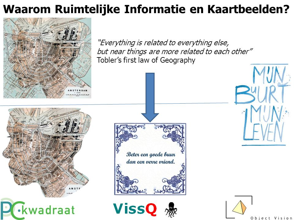 "Waarom Ruimtelijke Informatie en Kaartbeelden? ""Everything is related to everything else, but near things are more related to each other"" Tobler's fir"
