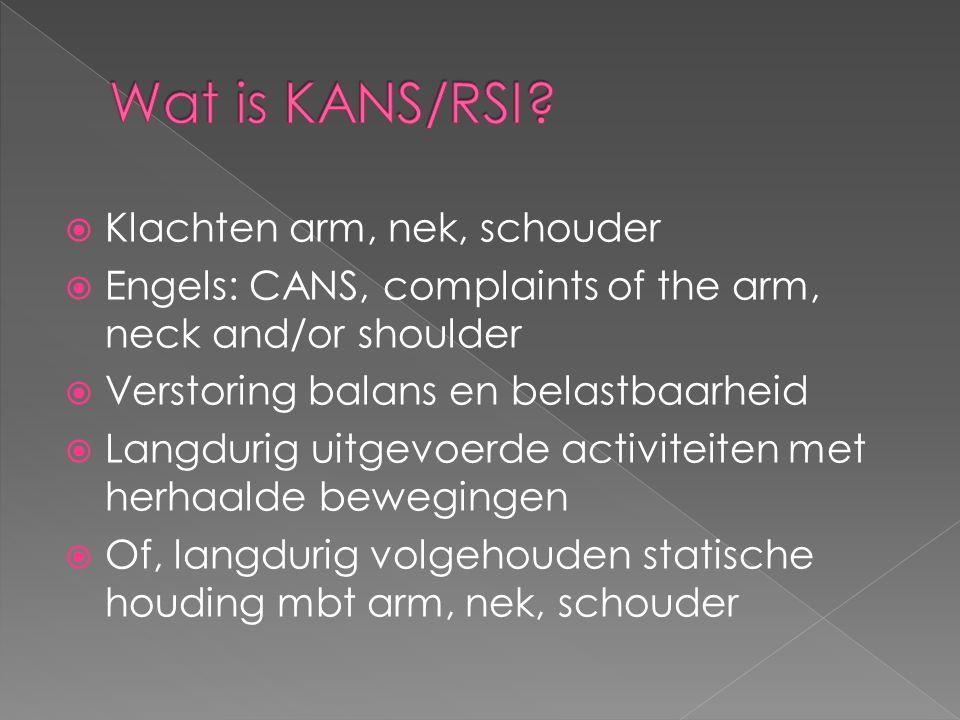  Klachten arm, nek, schouder  Engels: CANS, complaints of the arm, neck and/or shoulder  Verstoring balans en belastbaarheid  Langdurig uitgevoerd