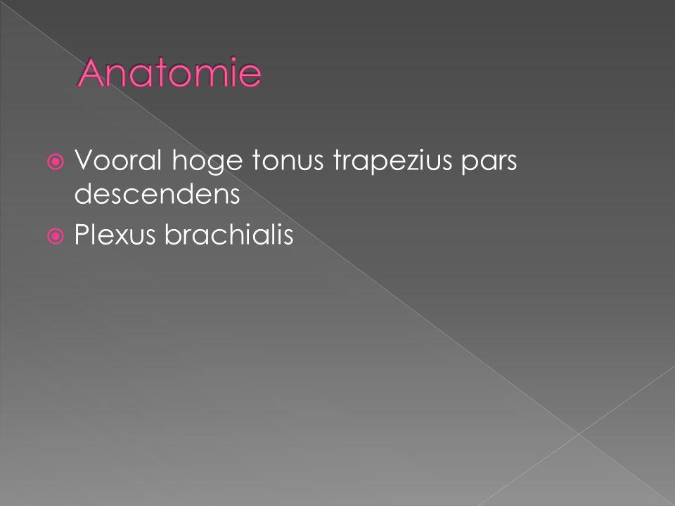  Vooral hoge tonus trapezius pars descendens  Plexus brachialis