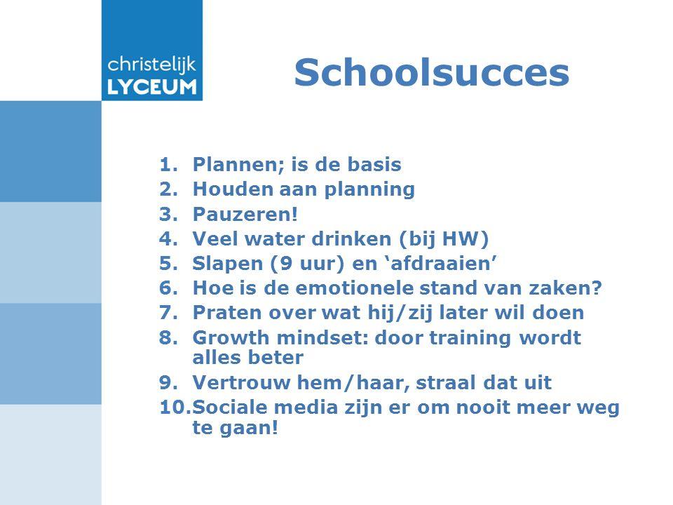 Schoolsucces 1.Plannen; is de basis 2.Houden aan planning 3.Pauzeren! 4.Veel water drinken (bij HW) 5.Slapen (9 uur) en 'afdraaien' 6.Hoe is de emotio