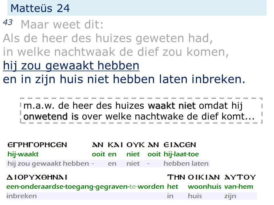 Matteüs 24 43 Maar weet dit: Als de heer des huizes geweten had, in welke nachtwaak de dief zou komen, hij zou gewaakt hebben en in zijn huis niet hebben laten inbreken.
