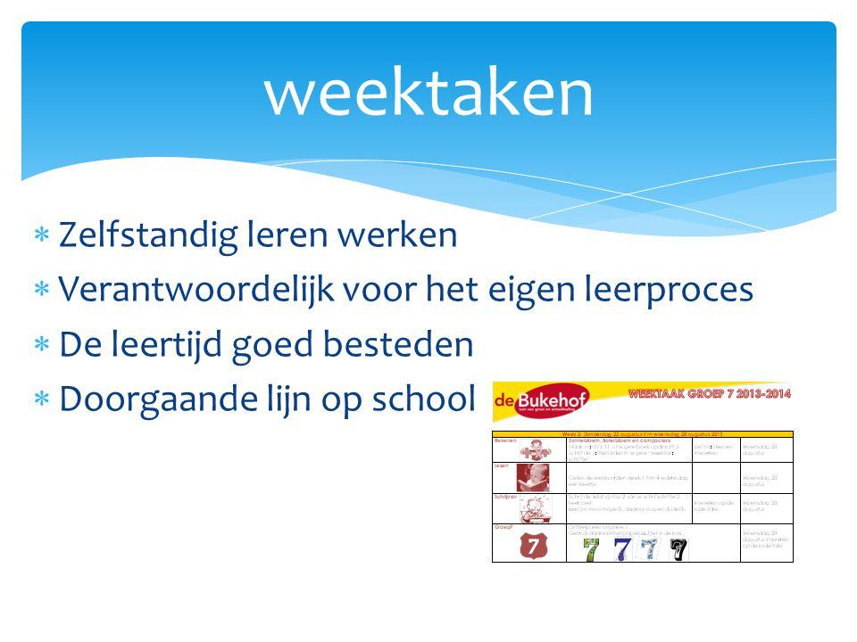  Zelfstandig leren werken  Verantwoordelijk voor het eigen leerproces  De leertijd goed besteden  Doorgaande lijn op school weektaken