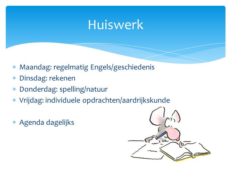  Maandag: regelmatig Engels/geschiedenis  Dinsdag: rekenen  Donderdag: spelling/natuur  Vrijdag: individuele opdrachten/aardrijkskunde  Agenda dagelijks Huiswerk