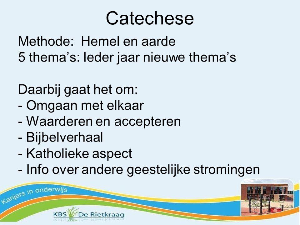 Catechese Methode: Hemel en aarde 5 thema's: Ieder jaar nieuwe thema's Daarbij gaat het om: - Omgaan met elkaar - Waarderen en accepteren - Bijbelverh