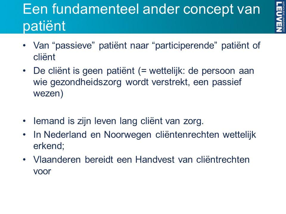 Een fundamenteel ander concept van patiënt Van passieve patiënt naar participerende patiënt of cliënt De cliënt is geen patiënt (= wettelijk: de persoon aan wie gezondheidszorg wordt verstrekt, een passief wezen) Iemand is zijn leven lang cliënt van zorg.