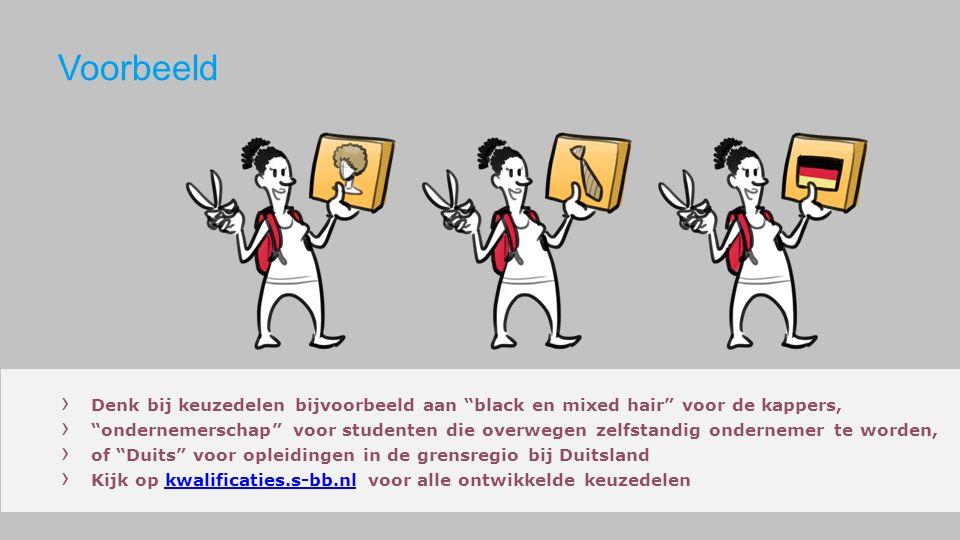 › Denk bij keuzedelen bijvoorbeeld aan black en mixed hair voor de kappers, › ondernemerschap voor studenten die overwegen zelfstandig ondernemer te worden, › of Duits voor opleidingen in de grensregio bij Duitsland › Kijk op kwalificaties.s-bb.nl voor alle ontwikkelde keuzedelenkwalificaties.s-bb.nl Voorbeeld