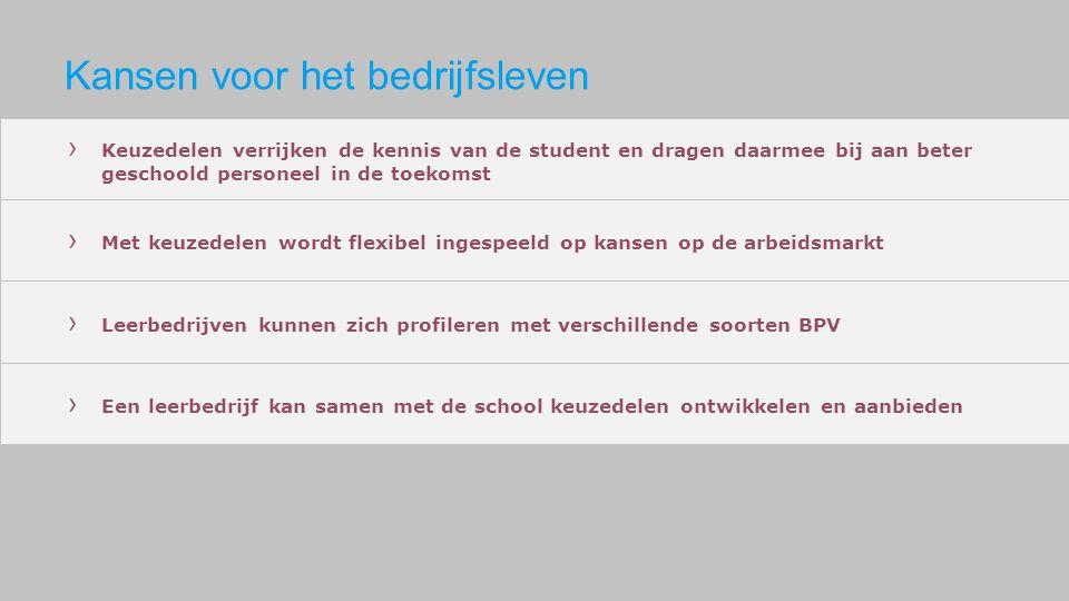 › Keuzedelen verrijken de kennis van de student en dragen daarmee bij aan beter geschoold personeel in de toekomst › Met keuzedelen wordt flexibel ing