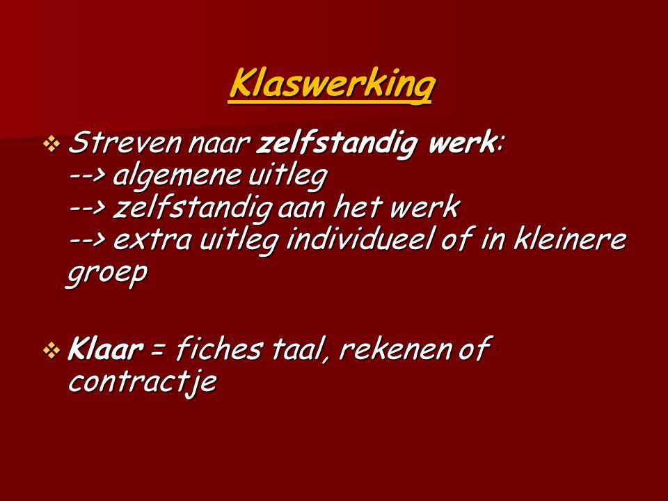 Klaswerking  Streven naar zelfstandig werk: --> algemene uitleg --> zelfstandig aan het werk --> extra uitleg individueel of in kleinere groep  Klaar = fiches taal, rekenen of contractje