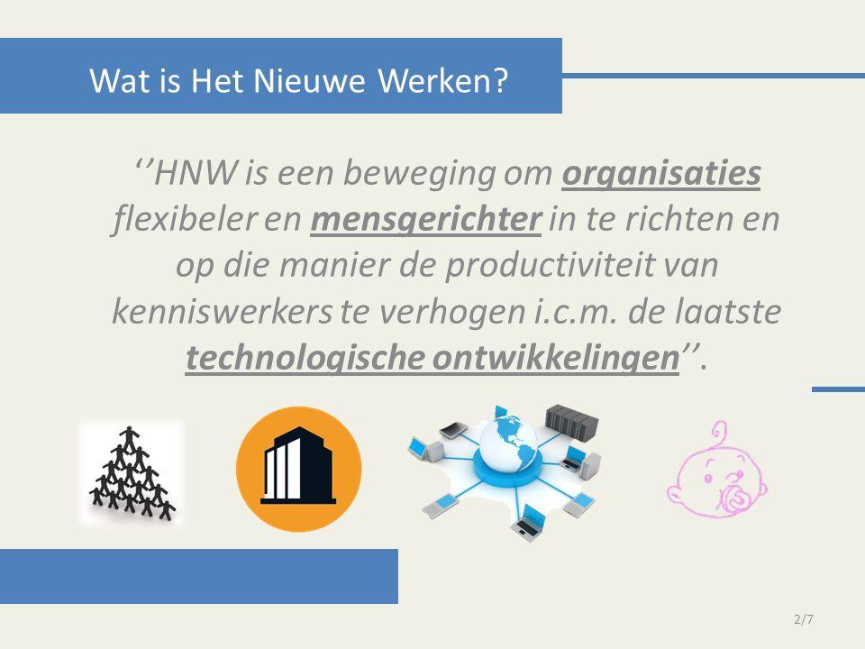 ''HNW is een beweging om organisaties flexibeler en mensgerichter in te richten en op die manier de productiviteit van kenniswerkers te verhogen i.c.m