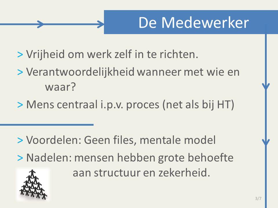 > Vrijheid om werk zelf in te richten. > Verantwoordelijkheid wanneer met wie en waar? > Mens centraal i.p.v. proces (net als bij HT) > Voordelen: Gee