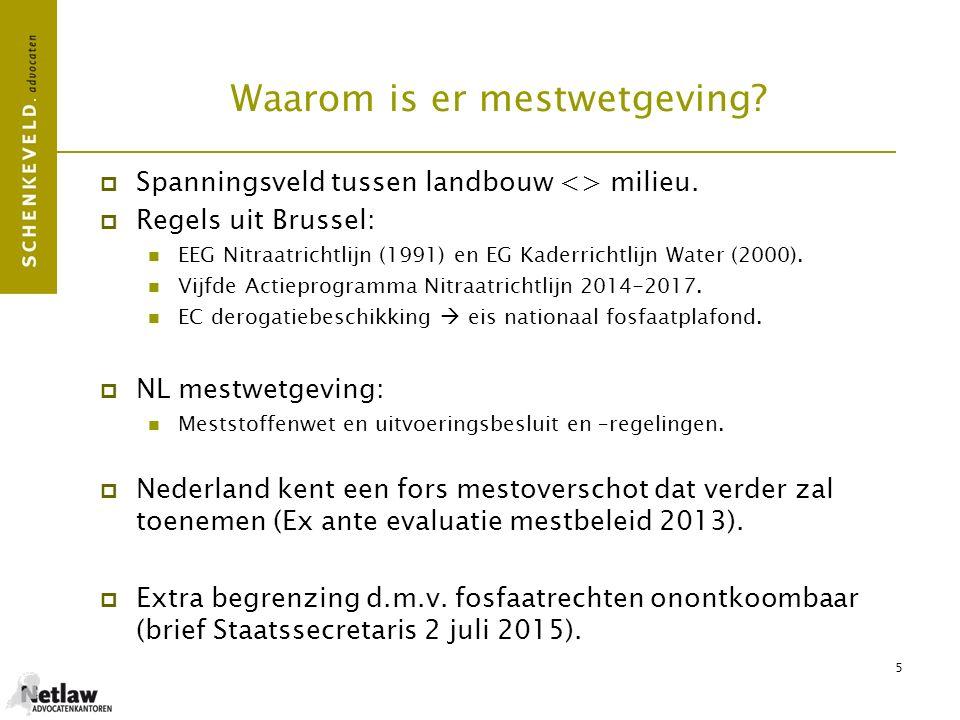 5 Waarom is er mestwetgeving?  Spanningsveld tussen landbouw <> milieu.  Regels uit Brussel: EEG Nitraatrichtlijn (1991) en EG Kaderrichtlijn Water