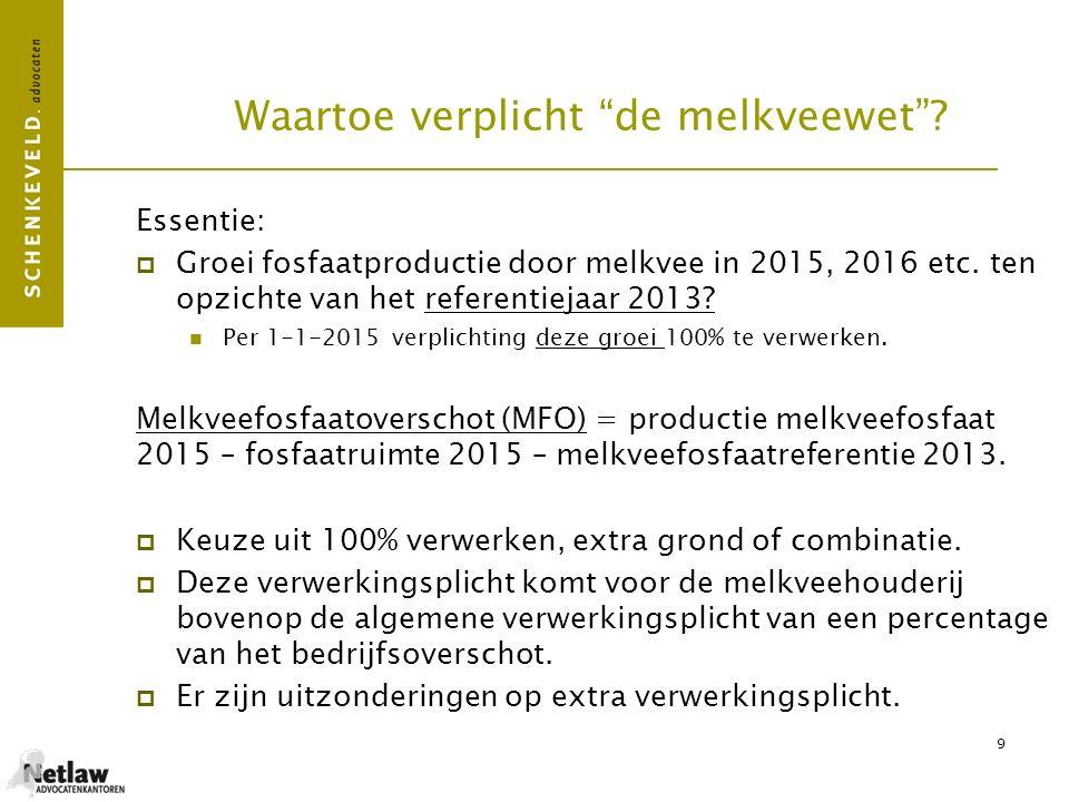 """9 Waartoe verplicht """"de melkveewet""""? Essentie:  Groei fosfaatproductie door melkvee in 2015, 2016 etc. ten opzichte van het referentiejaar 2013? Per"""