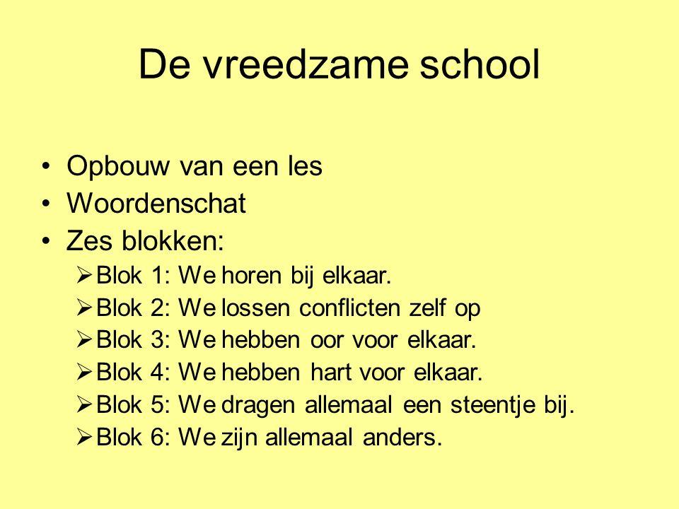 De vreedzame school Opbouw van een les Woordenschat Zes blokken:  Blok 1: We horen bij elkaar.  Blok 2: We lossen conflicten zelf op  Blok 3: We he