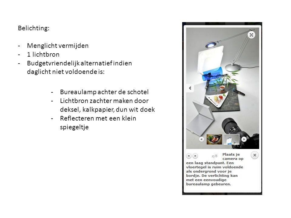 Belichting: -Menglicht vermijden -1 lichtbron -Budgetvriendelijk alternatief indien daglicht niet voldoende is: -Bureaulamp achter de schotel -Lichtbron zachter maken door deksel, kalkpapier, dun wit doek -Reflecteren met een klein spiegeltje