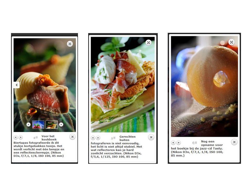 Links over foodfotografie: http://jorisluyten.be http://www.shoot.be/art/145123/hoe-fotografeer-je-gerechten-/ http://www.photofacts.nl/fotografie/rubriek/tips_en_truuks/10_tips_voor_het _fotograferen_van_eten.asp