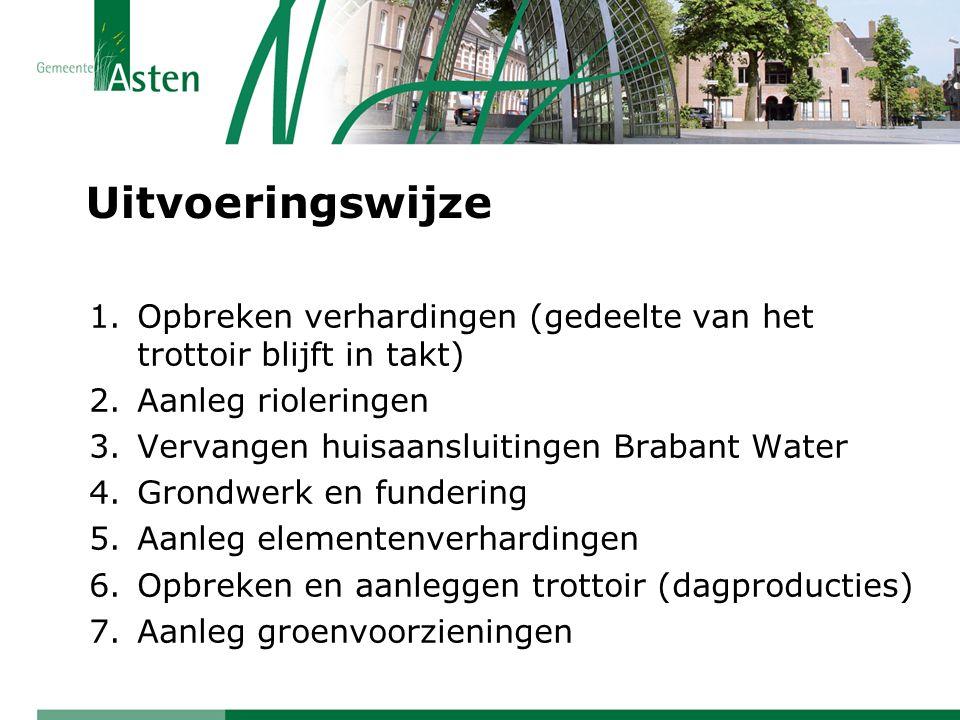 Uitvoeringswijze 1.Opbreken verhardingen (gedeelte van het trottoir blijft in takt) 2.Aanleg rioleringen 3.Vervangen huisaansluitingen Brabant Water 4