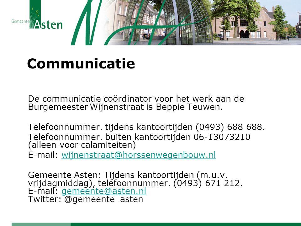Communicatie De communicatie coördinator voor het werk aan de Burgemeester Wijnenstraat is Beppie Teuwen. Telefoonnummer. tijdens kantoortijden (0493)