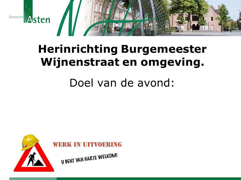 Herinrichting Burgemeester Wijnenstraat en omgeving. Doel van de avond:
