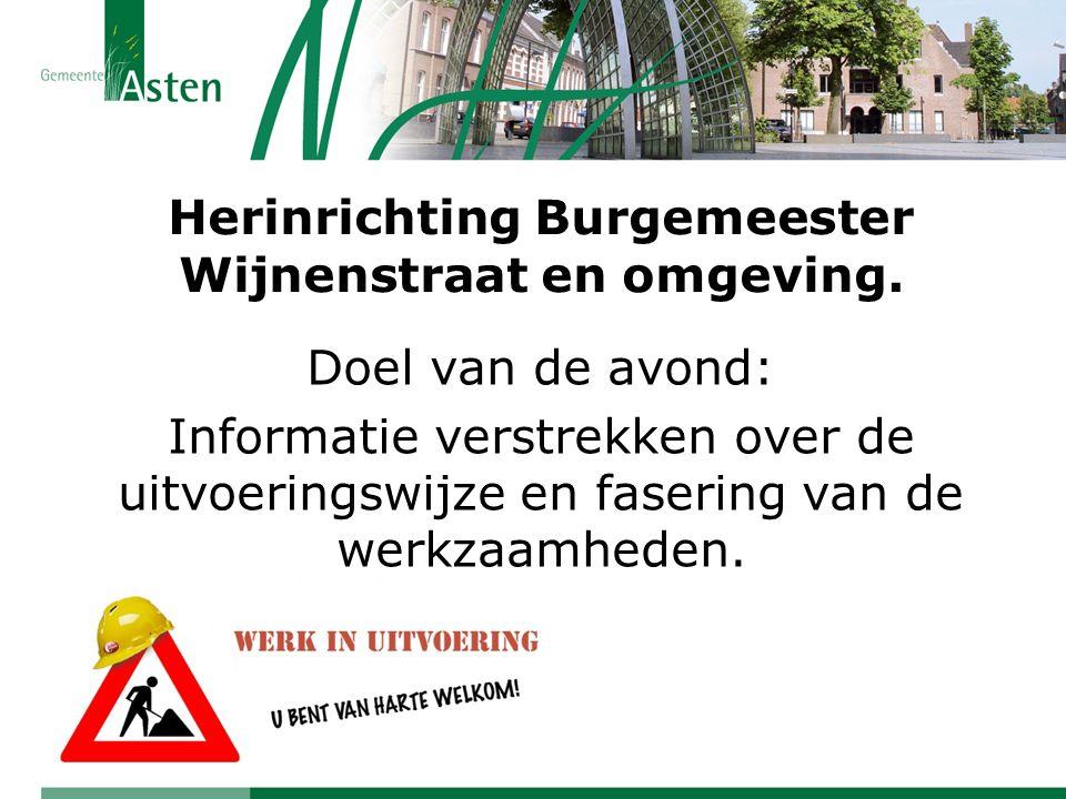 Herinrichting Burgemeester Wijnenstraat en omgeving. Doel van de avond: Informatie verstrekken over de uitvoeringswijze en fasering van de werkzaamhed