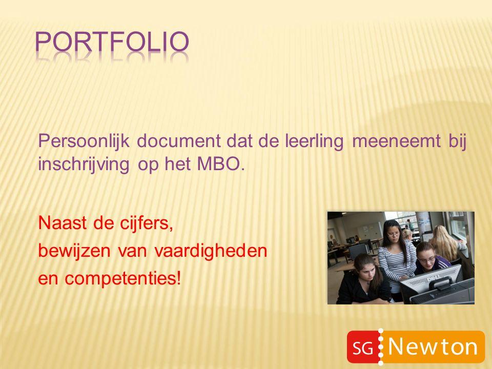 Persoonlijk document dat de leerling meeneemt bij inschrijving op het MBO.