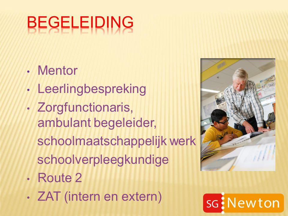 Mentor Leerlingbespreking Zorgfunctionaris, ambulant begeleider, schoolmaatschappelijk werk schoolverpleegkundige Route 2 ZAT (intern en extern)