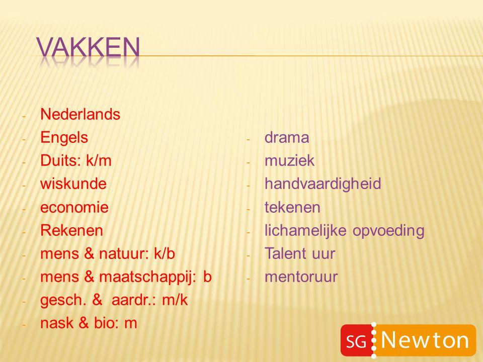 - Nederlands - Engels - Duits: k/m - wiskunde - economie - Rekenen - mens & natuur: k/b - mens & maatschappij: b - gesch.