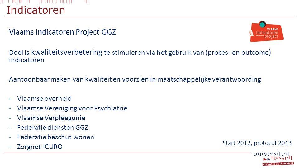 Indicatoren Vlaams Indicatoren Project GGZ Doel is kwaliteitsverbetering te stimuleren via het gebruik van (proces- en outcome) indicatoren Aantoonbaa