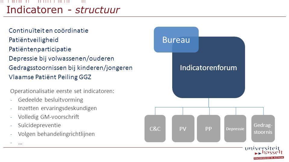 Indicatoren - structuur Continuïteit en coördinatie Patiëntveiligheid Patiëntenparticipatie Depressie bij volwassenen/ouderen Gedragsstoornissen bij k