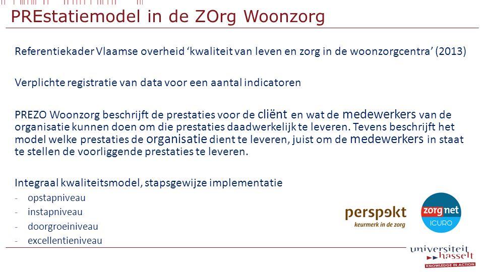 PREstatiemodel in de ZOrg Woonzorg Referentiekader Vlaamse overheid 'kwaliteit van leven en zorg in de woonzorgcentra' (2013) Verplichte registratie v