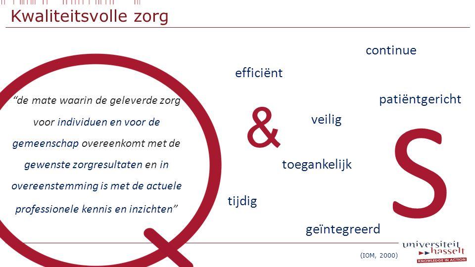 """Kwaliteitsvolle zorg 7 efficiënt patiëntgericht veilig tijdig toegankelijk continue & """"de mate waarin de geleverde zorg voor individuen en voor de gem"""