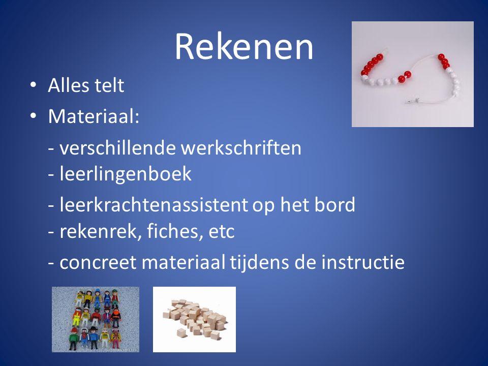 Rekenen Alles telt Materiaal: - verschillende werkschriften - leerlingenboek - leerkrachtenassistent op het bord - rekenrek, fiches, etc - concreet ma