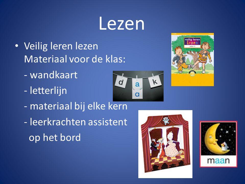 Lezen Materiaal voor de kinderen: - 12 leesboeken - 12 werkboekjes - kopieerbladen - klikklakboekje - klikklakclusterboekje - woorddoos - letterdoos - 4 veilig en vlot boekjes - 2 ringboekjes