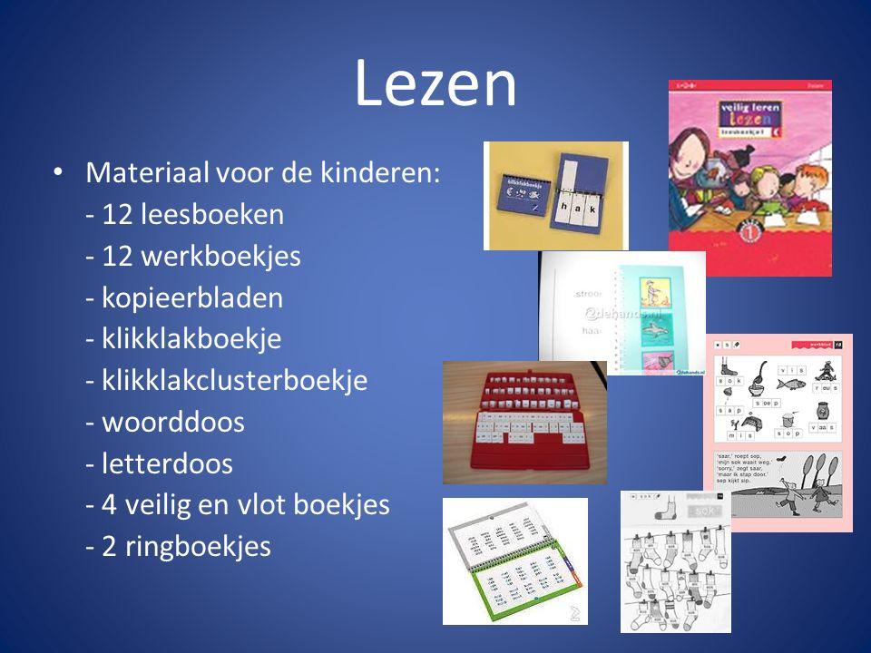Lezen Materiaal voor de kinderen: - 12 leesboeken - 12 werkboekjes - kopieerbladen - klikklakboekje - klikklakclusterboekje - woorddoos - letterdoos -