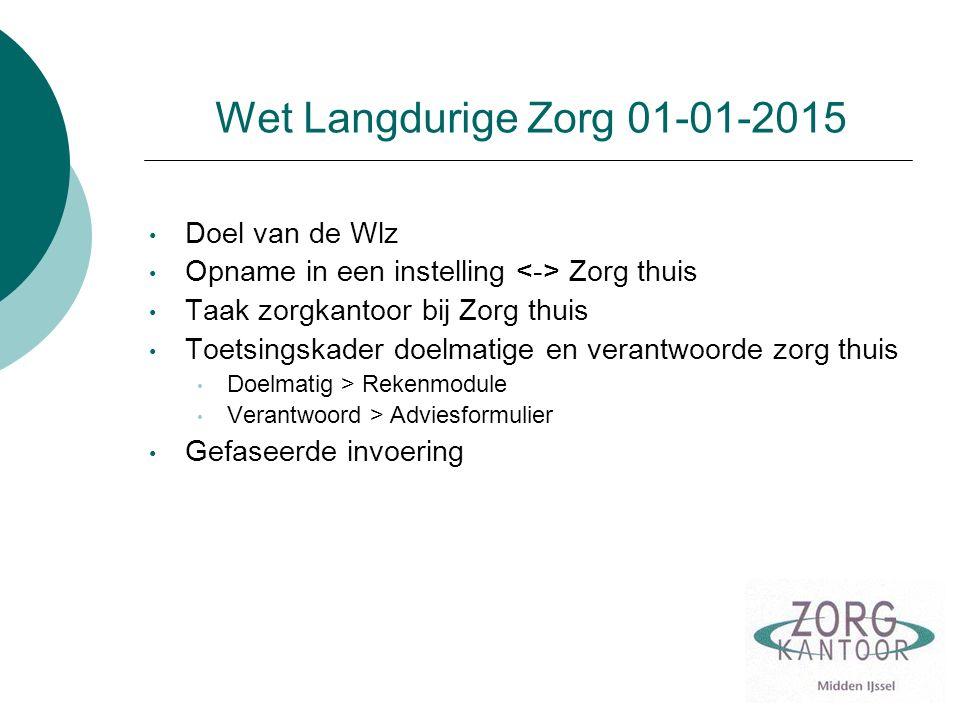 Wet Langdurige Zorg 01-01-2015 Doel van de Wlz Opname in een instelling Zorg thuis Taak zorgkantoor bij Zorg thuis Toetsingskader doelmatige en verant