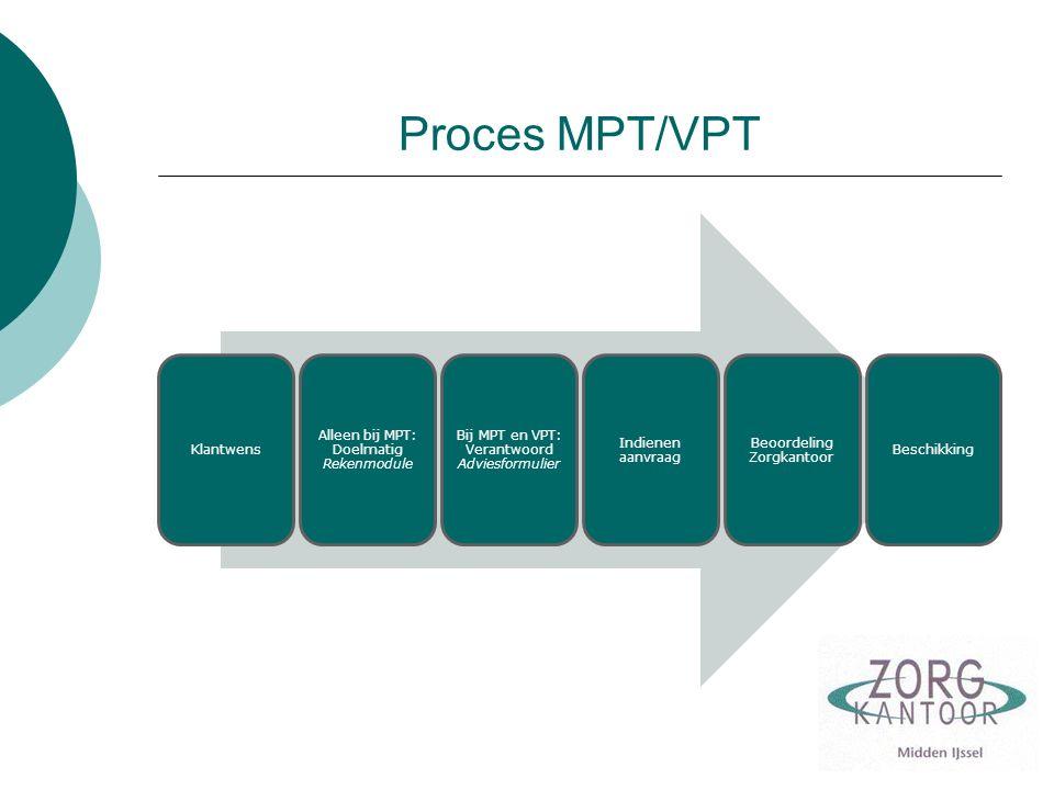 Proces MPT/VPT Klantwens Alleen bij MPT: Doelmatig Rekenmodule Bij MPT en VPT: Verantwoord Adviesformulier Indienen aanvraag Beoordeling Zorgkantoor B