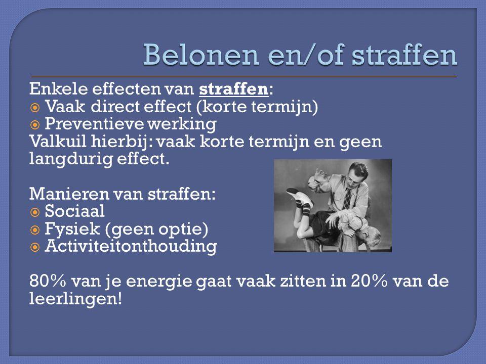 Enkele effecten van straffen:  Vaak direct effect (korte termijn)  Preventieve werking Valkuil hierbij: vaak korte termijn en geen langdurig effect.