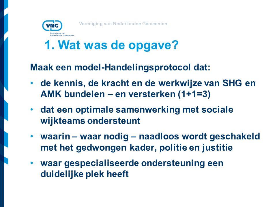 Vereniging van Nederlandse Gemeenten 1. Wat was de opgave? Maak een model-Handelingsprotocol dat: de kennis, de kracht en de werkwijze van SHG en AMK