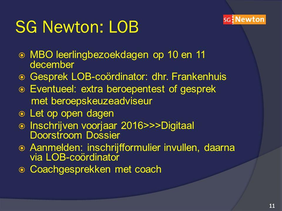 SG Newton: LOB  MBO leerlingbezoekdagen op 10 en 11 december  Gesprek LOB-coördinator: dhr.
