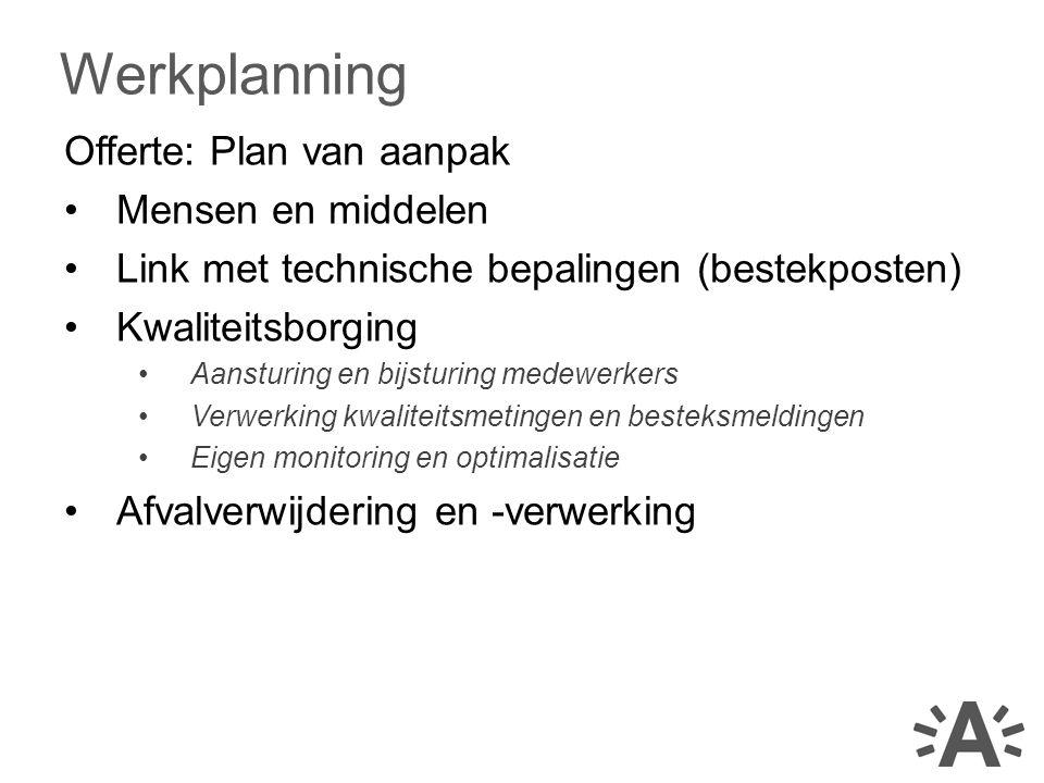 Offerte: Plan van aanpak Mensen en middelen Link met technische bepalingen (bestekposten) Kwaliteitsborging Aansturing en bijsturing medewerkers Verwe
