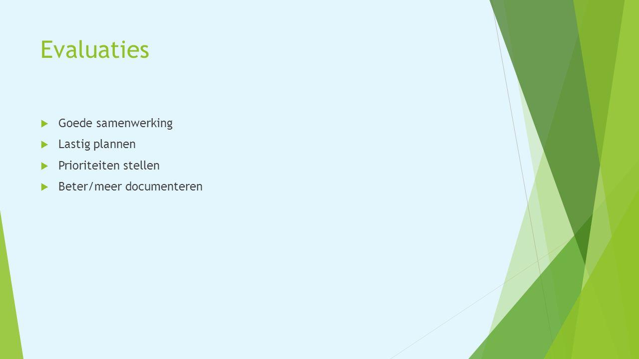 Evaluaties  Goede samenwerking  Lastig plannen  Prioriteiten stellen  Beter/meer documenteren