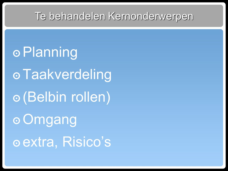 Te behandelen Kernonderwerpen ๏ Planning ๏ Taakverdeling ๏ (Belbin rollen) ๏ Omgang ๏ extra, Risico's