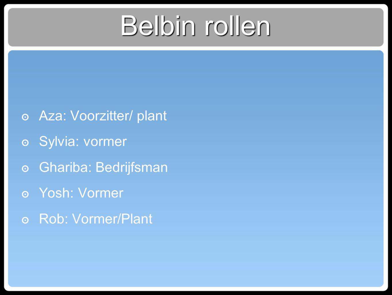 Belbin rollen ๏ Aza: Voorzitter/ plant ๏ Sylvia: vormer ๏ Ghariba: Bedrijfsman ๏ Yosh: Vormer ๏ Rob: Vormer/Plant