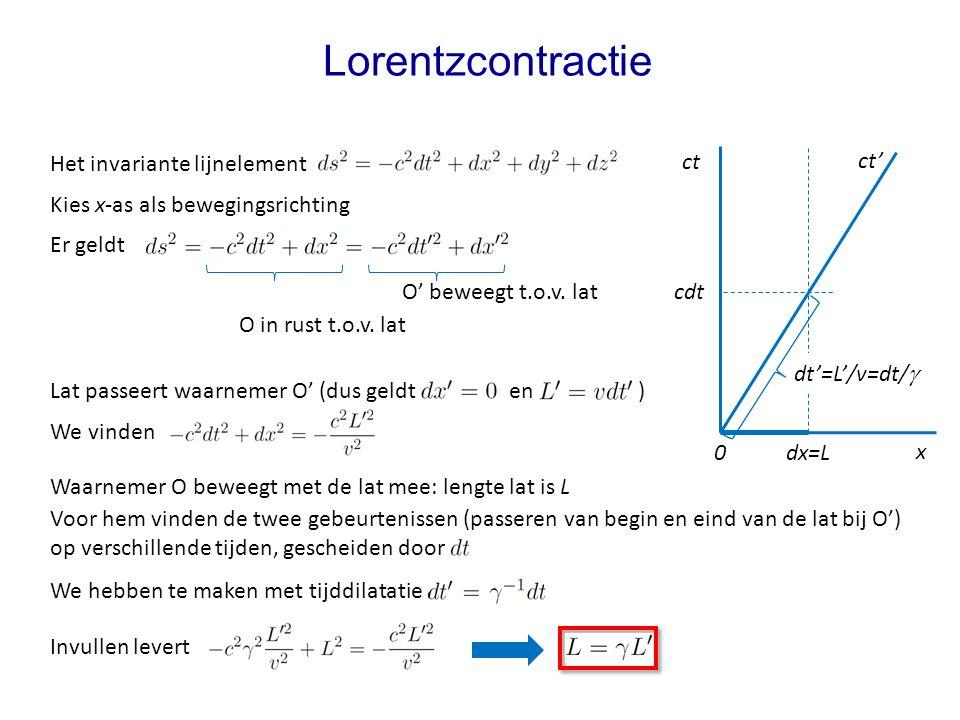Lat passeert waarnemer O' (dus geldt en ) Lorentzcontractie Het invariante lijnelement Kies x-as als bewegingsrichting Er geldt Waarnemer O beweegt met de lat mee: lengte lat is L We hebben te maken met tijddilatatie Invullen levert We vinden Voor hem vinden de twee gebeurtenissen (passeren van begin en eind van de lat bij O') op verschillende tijden, gescheiden door O' beweegt t.o.v.