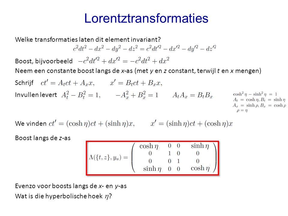 Lorentztransformaties Invullen levert Welke transformaties laten dit element invariant.
