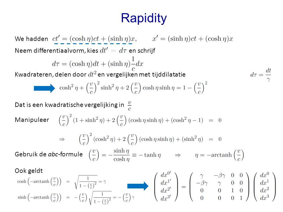 Rapidity We hadden Dat is een kwadratische vergelijking in Neem differentiaalvorm, kies en schrijf Kwadrateren, delen door en vergelijken met tijddilatatie Gebruik de abc-formule Ook geldt Manipuleer