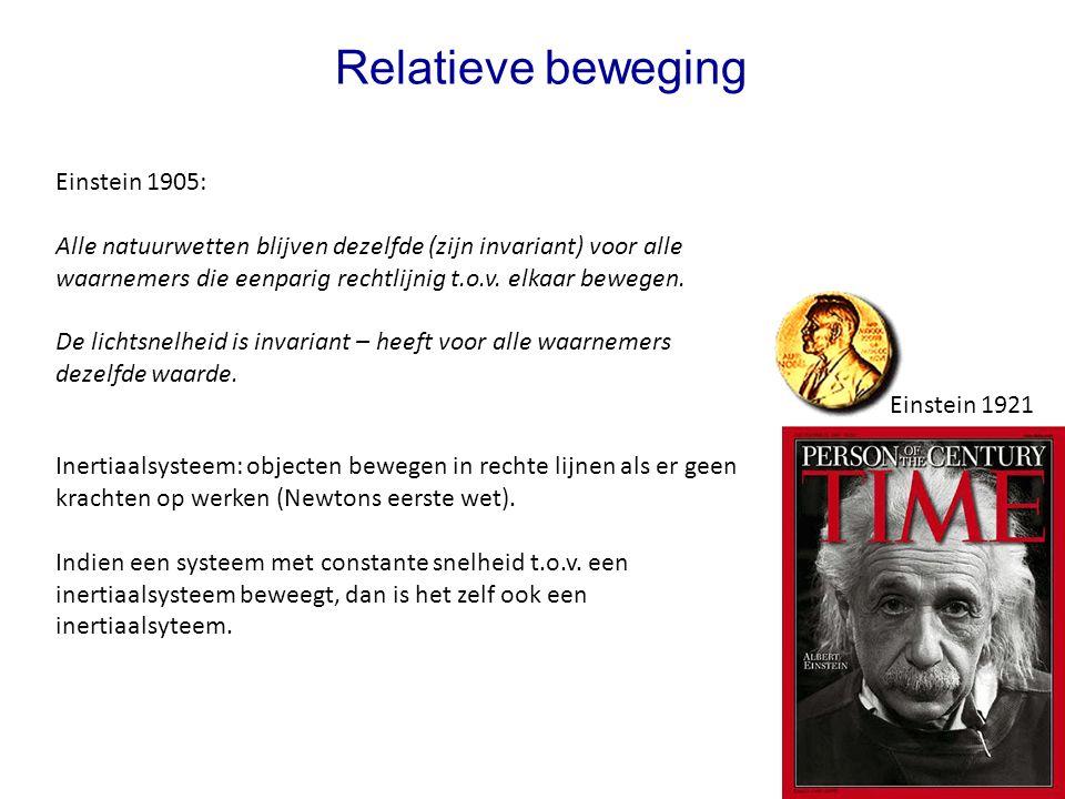 3 Relatieve beweging Einstein 1905: Alle natuurwetten blijven dezelfde (zijn invariant) voor alle waarnemers die eenparig rechtlijnig t.o.v.