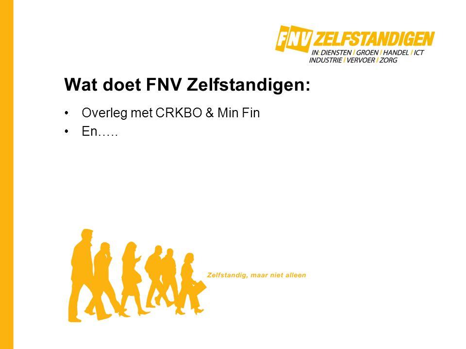 Wat doet FNV Zelfstandigen: Overleg met CRKBO & Min Fin En…..