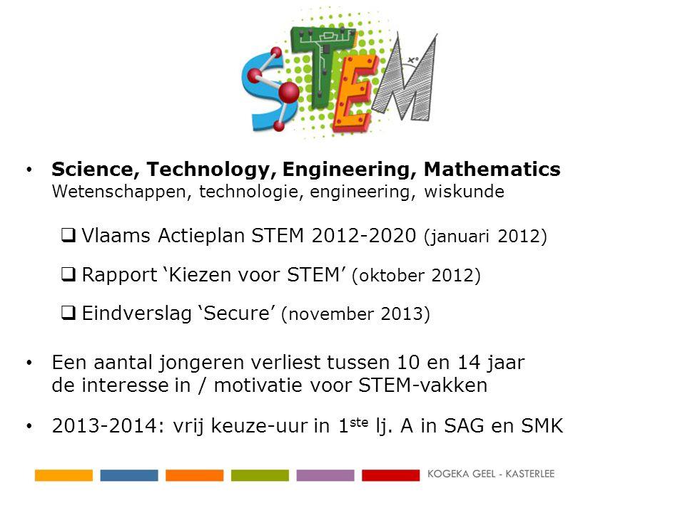 Science, Technology, Engineering, Mathematics Wetenschappen, technologie, engineering, wiskunde  Vlaams Actieplan STEM 2012-2020 (januari 2012)  Rap