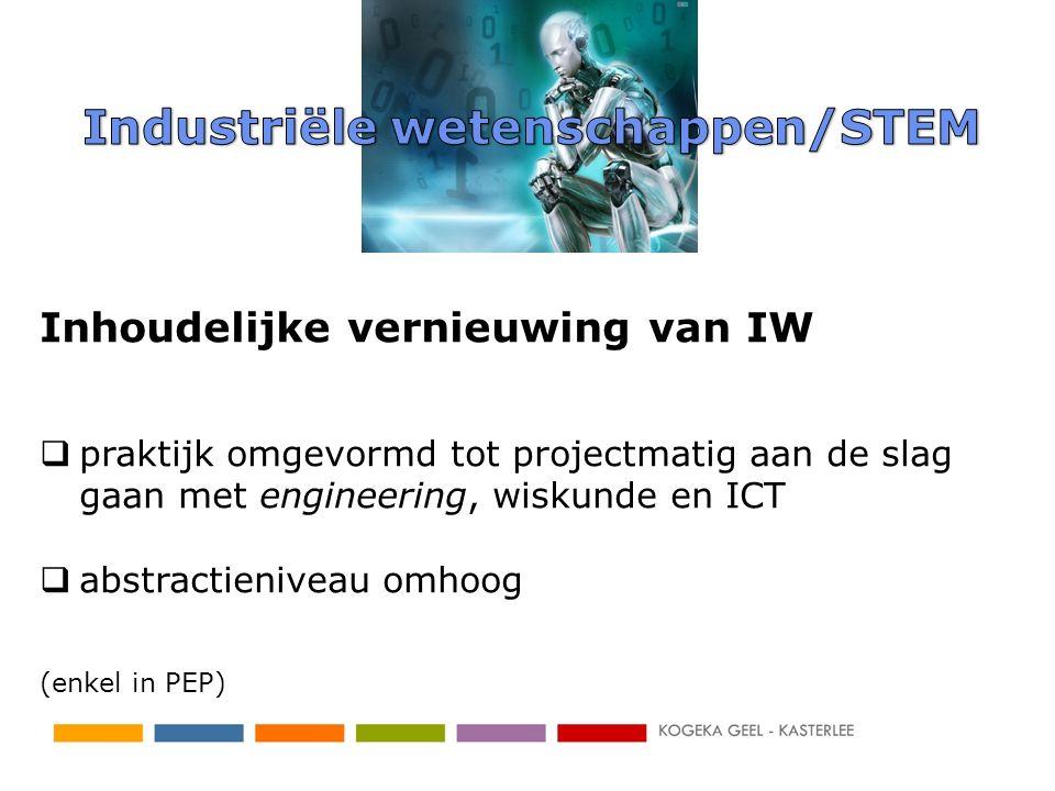 Inhoudelijke vernieuwing van IW  praktijk omgevormd tot projectmatig aan de slag gaan met engineering, wiskunde en ICT  abstractieniveau omhoog (enk